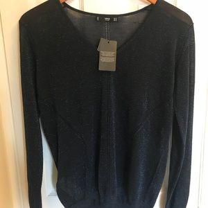 MNG V neck sweater in Metallic Blue
